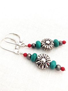 Inspiration photo - Turquoise and Silver Earring #tribal #southwest by UrbanClink, $26.50