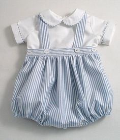Diy Crafts - Classic blue and white striped Oxford cotton romper-suit set for baby boys! Description:- The romper bottoms are made from striped Oxfo Baby Boy Fashion, Kids Fashion, Baby Boy Outfits, Kids Outfits, White Linen Suit, Two Piece Rompers, Romper Suit, Baby Sewing, Ideias Fashion