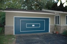 The garage door has been scrapes, sanded, primed and painted! The blue is a little darker than the original blue.   Γκαράζ, Γκαραζόπορτες http://www.cancelletto.gr Μονοκόμματες, Δίφυλλες, Αυτόματες γκαραζόπορτες #gkarazoportes