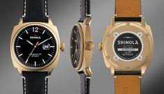 Shinola 'The Brakeman' Leather Strap Watch, 46mm