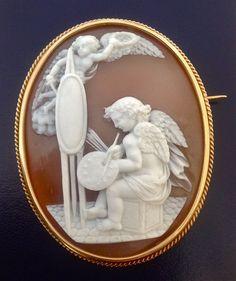 Museum Quality Sardonyx Shell Cameo Brooch of a Cherub Painting