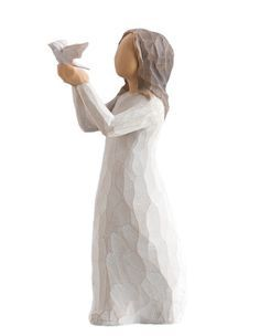 """""""Called Soar, this Willow Tree figurine lifts a white dove in the air, about to send it off into flight. The figure represents forward movement, being uplifted and moving forward, making it a wonderful gift for a friend about to embark on a new life journey. Share this sweet girl with anyone facing a challenging road, taking a new path or grieving the loss of a loved one. Offering comfort, hope and love,"""