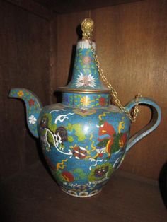 Vintage Cloisonne Tea Pot with side handle and chained lid