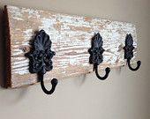 Custom Reclaimed Barn Wood Coat Rack with Embellished Iron Hooks