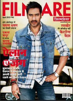 Ajay Devgan on The Cover of Filmfare Magazine Hindi - April 2013.