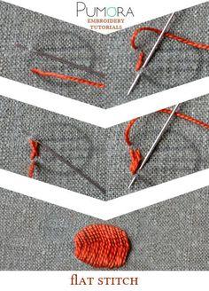 Pumora's embroidery stitch-lexicon: the flat stitch