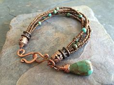 OOAK Beaded Copper ad Turquoise Bracelet by esdesigns65 on Etsy