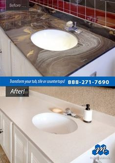 Don't replace - refinish! : Countertop refinishing works equally well on kitchen countertops, bathroom vanities, laminate breakfast bars, and even cultured marble sink vanities.