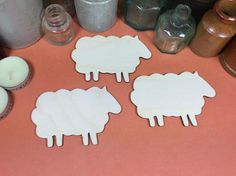 Sheep Set 10cm x 3 - Wooden Sheep Shape x 3, Craftshapes