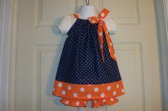 Pillowcase Dress Orange Blue Auburn Colors With Diaper Cover Custom Sizes 3m-4t