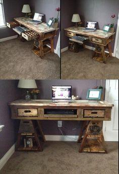 DIY Pallet Wood Distressed #Table / Computer #Desk   101 Pallets