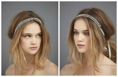ribbon-wedding-headband. Adorable way to accessorize a simple vintage wedding dress, perfect for a rustic bohemian wedding look.