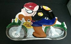 Cooks Club Ceramic Motorcycle Road Hog Party Food Tray Dish #CooksClub