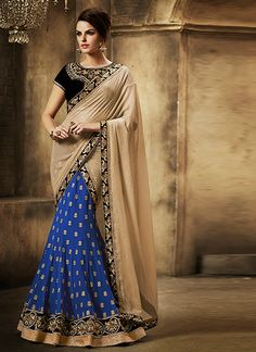 Be an angel and create and establish a smashing affect on anybody by carrying this blue georgette lehenga saree. This pretty attire is showing some wonderful embroidery done with embroidered and patch...