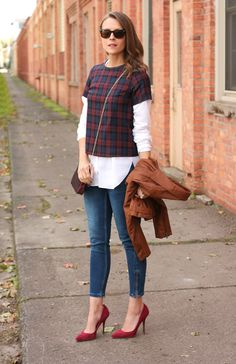 Layering - skinny jeans, white shirt, short sleeve top, leather jacket, suede pumps