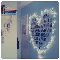 A gorgeous way to decorate a room with a photowall with #fairy lights