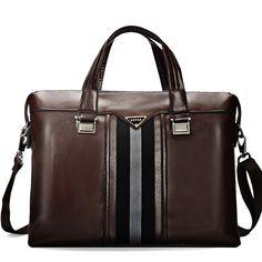 Bole Brown Durable PU Leather Casual Business Men Briefcase Purse Contracted Avant-garde Amazing Zipper Sequined Medium Crossbody Laptop Bag