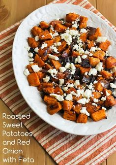 Recipe for Roasted Sweet Potatoes and Red Onions with Feta; great for Thanksgiving or all winter long! [from KalynsKitchen.com] #HealthSweetPotatoes