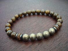 Men's Pyrite Power Mala Bracelet  Bronzite and by 5thElementYoga
