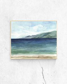 Printable sea watercolor painting beach painting ocean