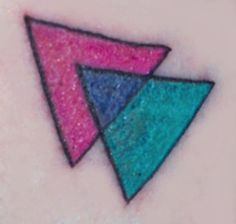It won't be just the pink triangle or the moons. Romy's bi tat would be this.