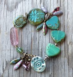 """""""DragonFly Feathers""""--patina on button and focal bead"""