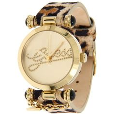 GUESS U96023L1 30th Anniversary Watch ($95) ❤ liked on Polyvore featuring jewelry, watches, accessories, fashion watches, leopard, guess jewelry, guess wrist watch, stainless steel wrist watch, analog wrist watch and leather band watches
