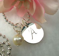 Personalized Bridal Pearl Necklace Bridesmaid by CharmAccents, $18.00