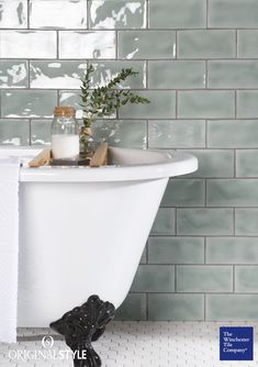 The Winchester Tile Company Residence Cosmopolitan Mint Brick Tiles are slightly. - The Winchester Tile Company Residence Cosmopolitan Mint Brick Tiles are slightly chunkier than the - Bathroom Styling, Bathroom Interior Design, Decor Interior Design, Bad Wand, Claw Foot Bath, Classic Bathroom, Traditional Bathroom, Modern Traditional, Small Bathroom