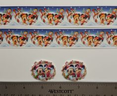 "2 Yds 1"" Minnie Mouse/ Christmas  Inspired Grosgrain Ribbon and 2 Resin"