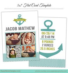 Birth Announcement Photoshop Template for Photographers #birth announcement template #photographer #photography #photoshop #digital #photography templates