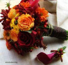menyasszonyi csokor és vőlegény kitűző az ősz szineivel https://www.facebook.com/pages/Vendulavirag
