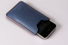iPhone Navy Blue Natural Leather Sleeve by Vorya on Etsy, €37.00