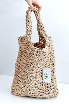 Crochet tote bag. Rustic bag