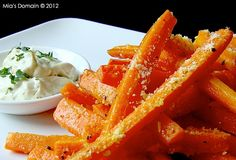 Baked Parmesan Carrot Fries With Cilantro Dipping Sauce.  wow!!