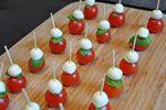 Canape idea - cherry tom, basil leaf, mozzarella