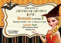 Frozen Halloween Birthday Party Invitation/ Halloween Elsa Party Invitation…