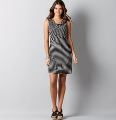 What color wedges would look best with this dress? The dress is navy and white.