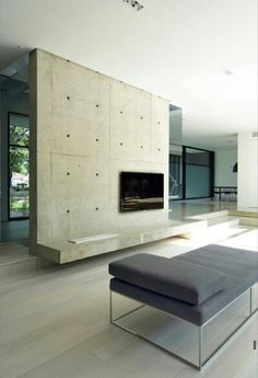 Cement TV feature wall