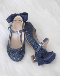 46a61873e1e Girls Glitter Heels - Allover NAVY Glitter Maryjane Heels With Satin Bow  Flower Girl Shoes