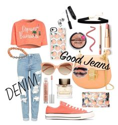 """Denim is a good jeans♥️"" by kaoriihayashi on Polyvore featuring Topshop, Converse, Urban Decay, Skinnydip, Chloé, Linda Farrow, Casetify, Fendi, Boohoo and Burberry"