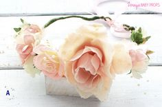 Maternity Crown, Pink,Wedding Flower Crown, Bride Headpiece, Boho Wreath, Vintage Wreath,  Hair Piece, Woodland Headpiece,Adult Flower Crown by ZorayaBabyProps on Etsy