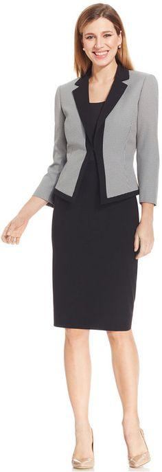 Tahari ASL Houndstooth-Jacket Skirt Suit