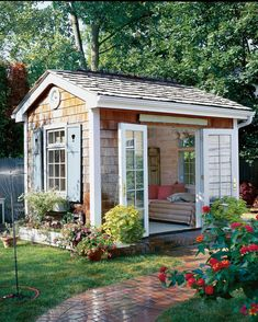 47 Incredible Backyard Storage Shed Design and Decor Ideas Backyard Storage Sheds, Backyard Sheds, Storage Shed Plans, Outdoor Storage, Garden Sheds, Diy Storage, Backyard Barn, Backyard House, Storage Ideas