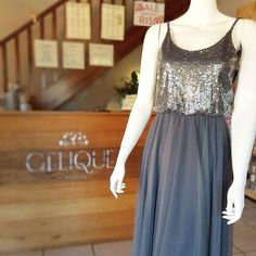 Gelique Leah Dress with sequins bodice overlay and tulle skirt. Charcoal fabric and sequins is a perfect combination! Overlay, Bodice, Charcoal, Tulle, Sequins, Bridesmaid Dresses, Couture, Formal Dresses, Skirts