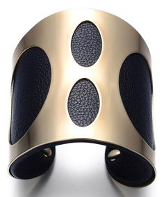 Another great find on #zulily! Black & Goldtone Dot Leather Cuff #zulilyfinds