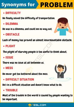 Synonyms for problem! This page provides a list of useful problem synonyms with ESL pictures and example sentences. Learn these synonyms for problem to broaden English Learning Spoken, Learn English Grammar, English Vocabulary Words, Learn English Words, English Phrases, Grammar And Vocabulary, English Language Learning, Teaching English, Vocabulary Builder