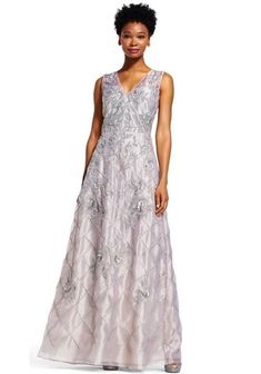 35be5869aaaec Adrianna Papell V-Neck Sleeveless Zipper Back Embellished Organza Dress