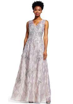 a3f0c28d Adrianna Papell V-Neck Sleeveless Zipper Back Embellished Organza Dress