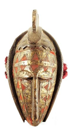 Africa | Mask from the Markha people of Mali | Wood, brass metal sheeting, red cloth
